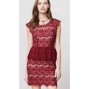 Anthropologie Maeve Red Lace Dress